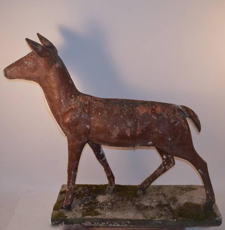American Large Poured Stone Deer Lawn Statuary For Sale