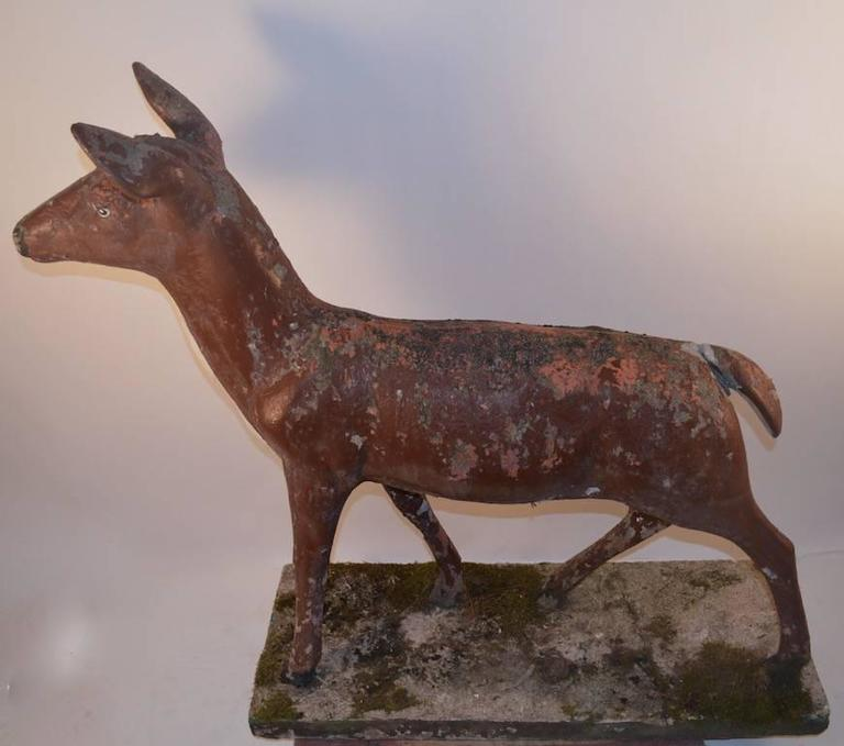 20th Century Large Poured Stone Deer Lawn Statuary For Sale