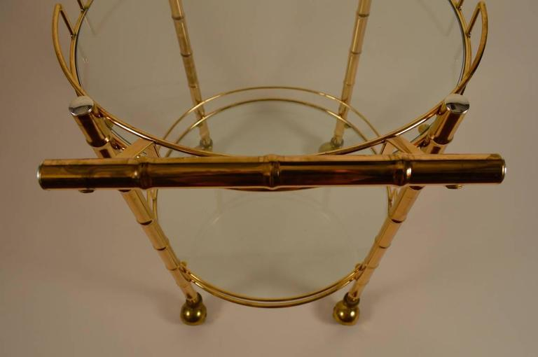 American Brass Faux Bamboo Serving Cart For Sale