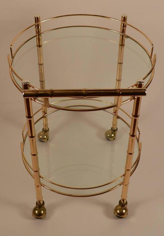 Brass Faux Bamboo Serving Cart In Excellent Condition For Sale In New York, NY
