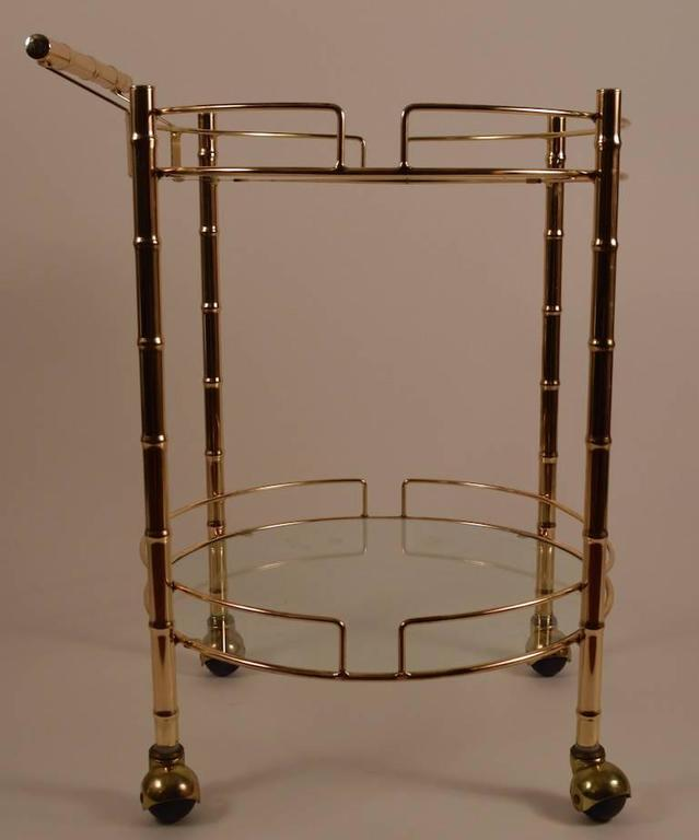 Glass Brass Faux Bamboo Serving Cart For Sale