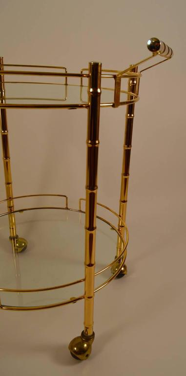 Brass Faux Bamboo Serving Cart For Sale 2