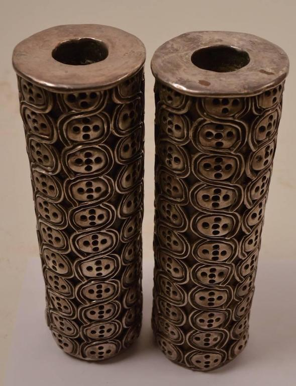 Impressive Pair of Antonio Pineda Silver Candlesticks For Sale 3