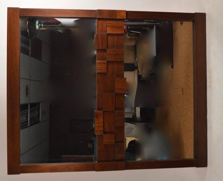 American Large Lane Mosaic Pattern Brutalist Mirror For Sale
