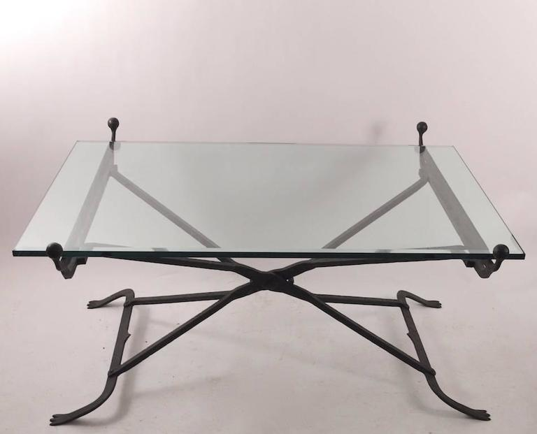 Wrought Iron Glass Top Coffee Table in the Gothic Style For Sale at