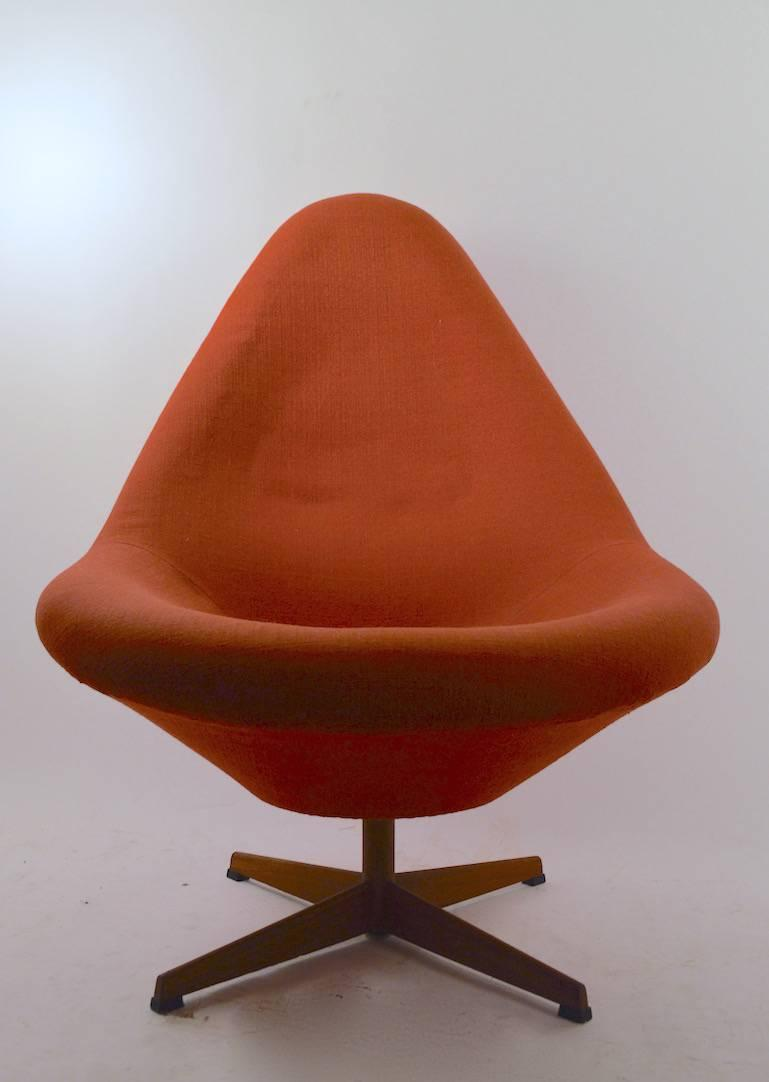 Upholstered swivel lounge chair for sale at 1stdibs