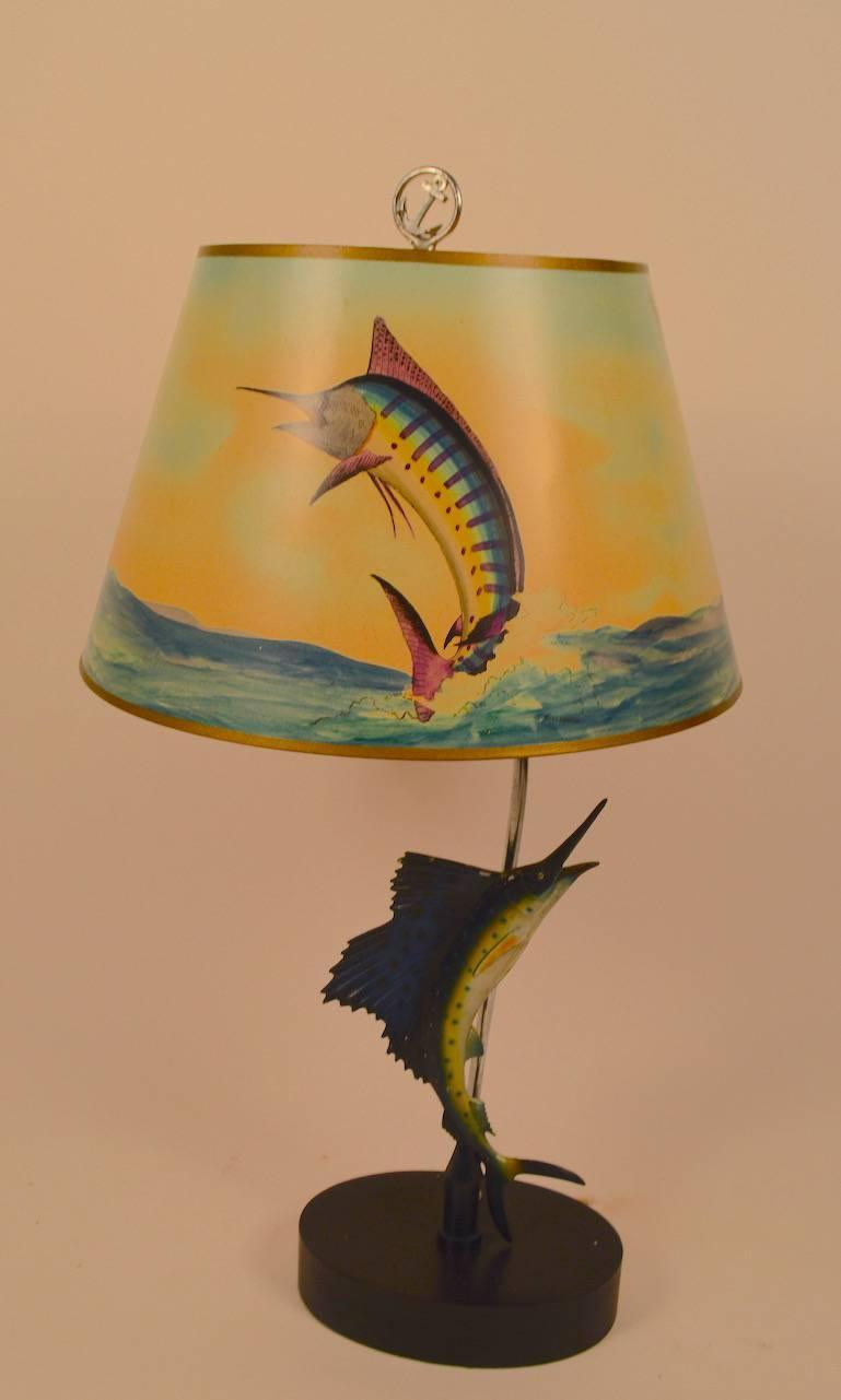 Crazy Sailfish Motif Table Lamp With Signed Shade For Sale