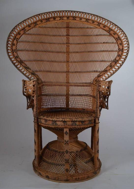 Superior Art Deco Iconic Emmanuelle Wicker Peacock Chair For Sale
