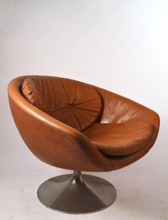 Awesome Swivel Pod Chair With Cast Aluminum Base, By Overman Of Sweden, Unusual To  See
