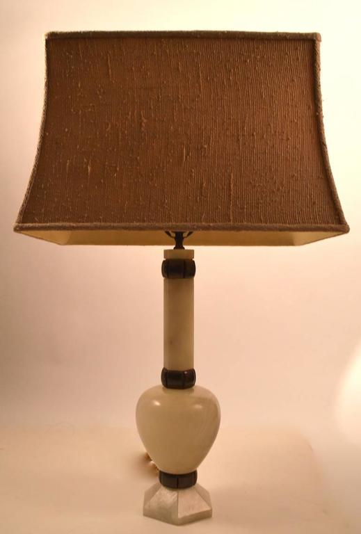 Pair of alabaster and bronze table lamps in very fine, original, working condition. Height to top of socket 23