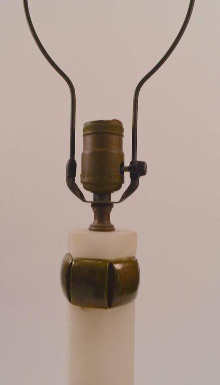 Pair of Elegant Alabaster and Bronze Table Lamps In Excellent Condition For Sale In New York, NY