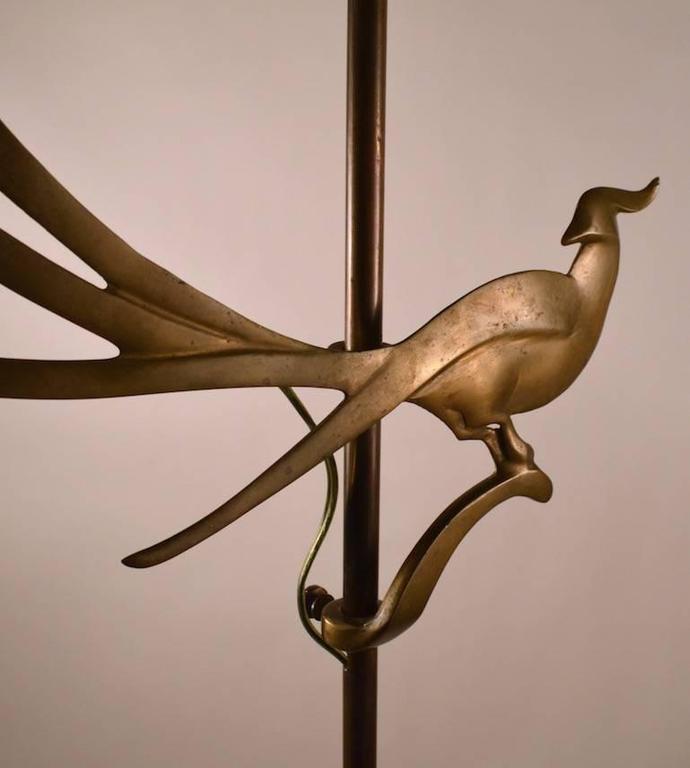Art Deco Art Nouveau Brass Bird Motif Adjustable Floor