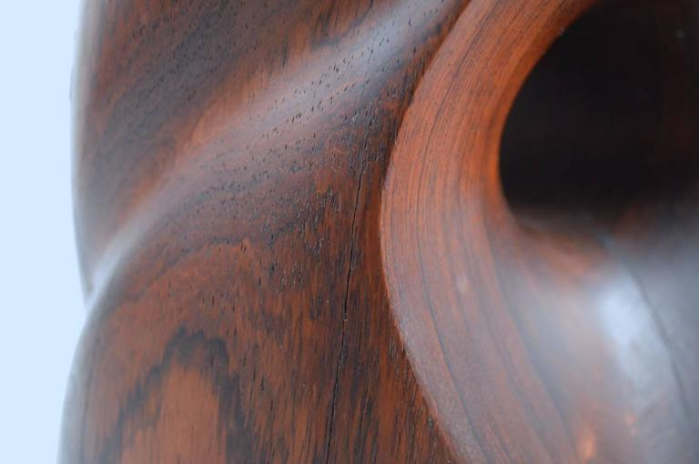 Mid-Century Carved Solid  Rosewood Organic Sculpture For Sale 4