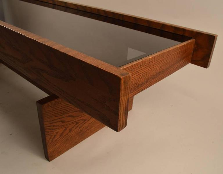 Smoked Glass And Oak Constructionist Coffee Cocktail Table For Sale At 1stdibs