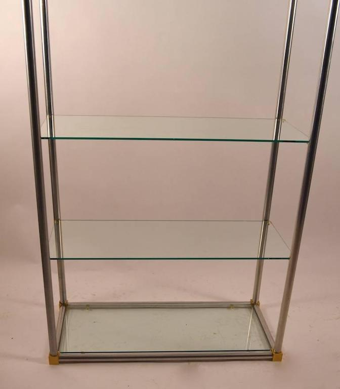 aluminum brass and glass etagere vitrine by vesey for sale at 1stdibs