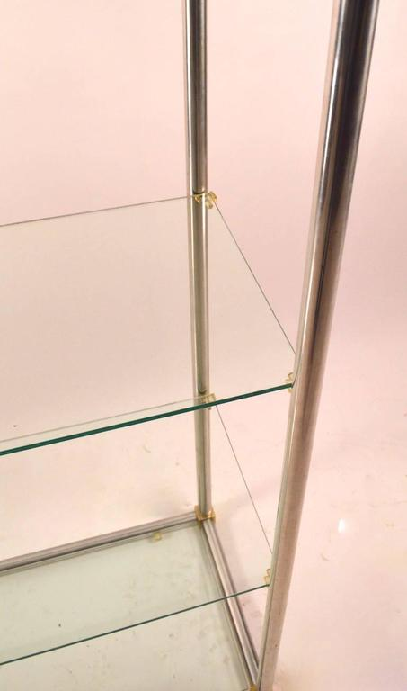 Aluminum / Brass and Glass Etagere, Vitrine by Vesey For Sale at 1stdibs