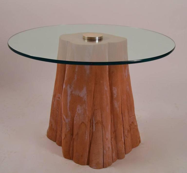 Tree trunk base glass top table at 1stdibs Tree trunk coffee table glass top