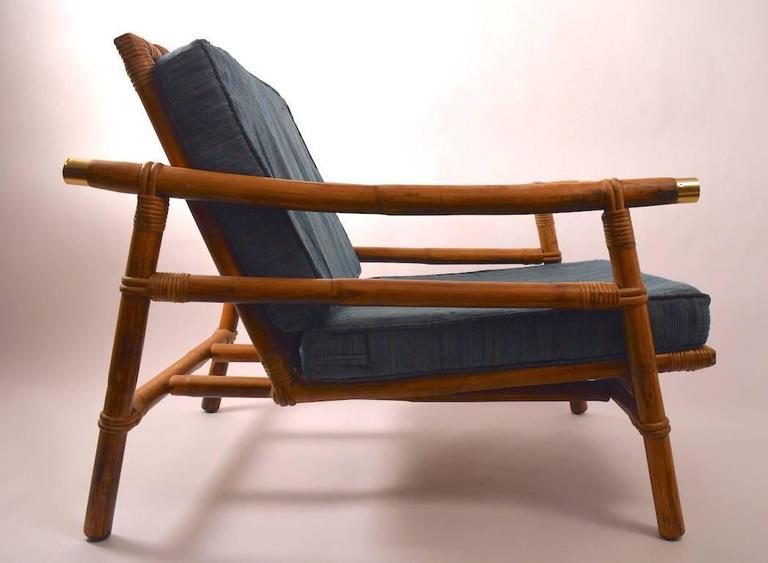 Hollywood Regency Stylish Pair Of John Wisner For Ficks Reed Bamboo Lounge  Chairs For Sale
