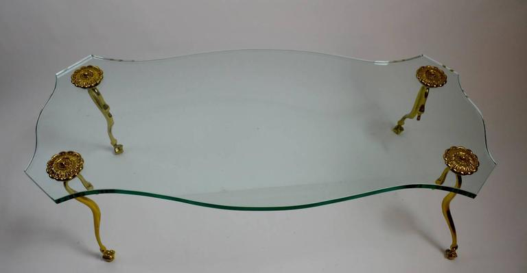 Hollywood Regency Plate Glass and Brass Coffee Cocktail Table 4