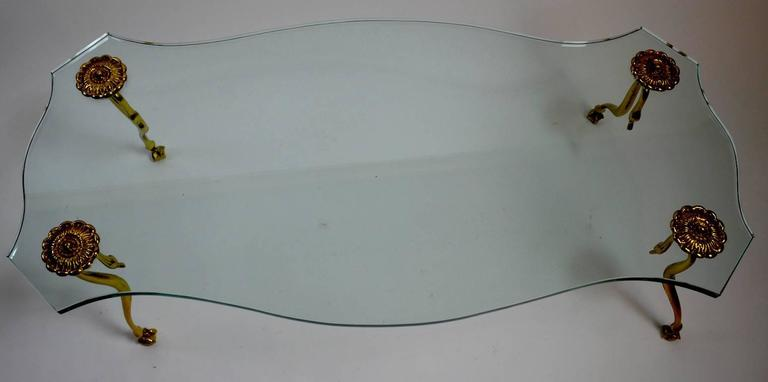 Hollywood Regency Plate Glass and Brass Coffee Cocktail Table 6