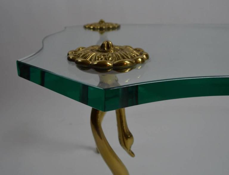Hollywood Regency Plate Glass and Brass Coffee Cocktail Table 7