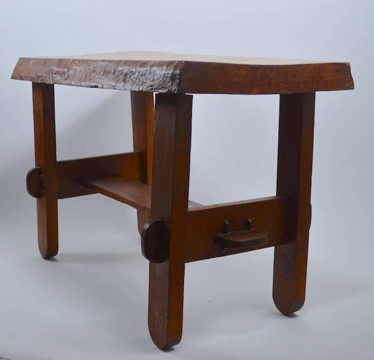 Rustic Vintage Tree Slab Coffee Table For Sale At Stdibs: Adirondack Rustic Free Edge Slab Table For Sale At 1stdibs