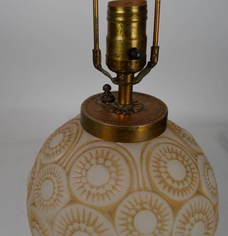 Art Glass Art Deco Lamp after Lalique For Sale