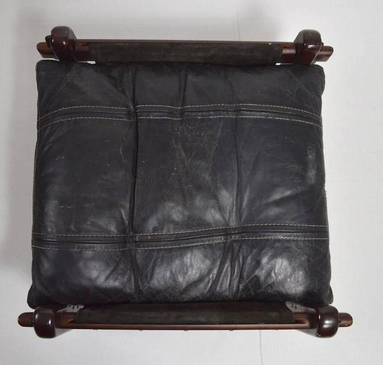 Leather Brazilian Stool Footrest Ottoman by Jean Gillon For Sale