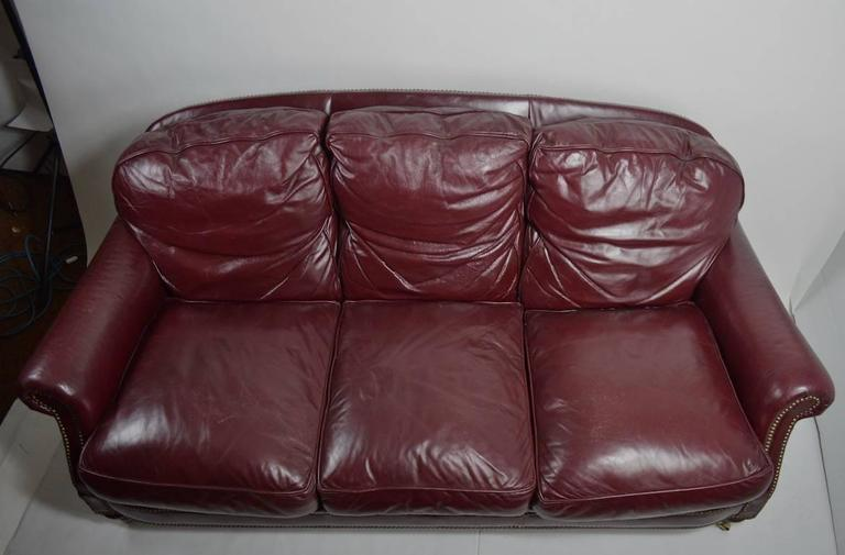 American Classic Leather Sofa Couch For Sale