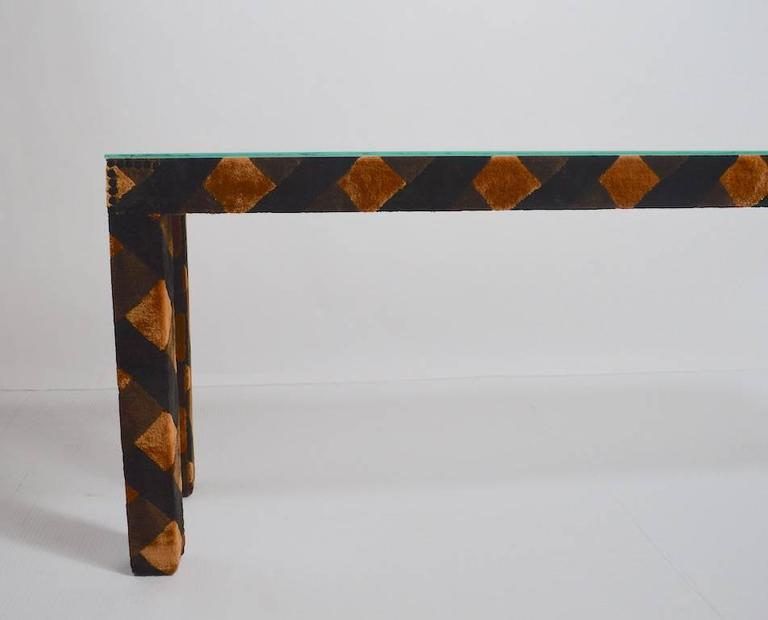 Post-Modern Upholstered Parsons Console Table For Sale