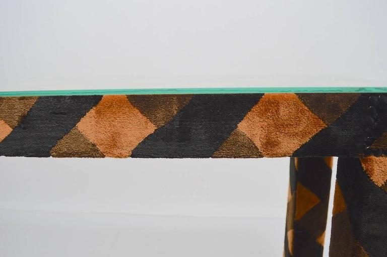 Late 20th Century Upholstered Parsons Console Table For Sale