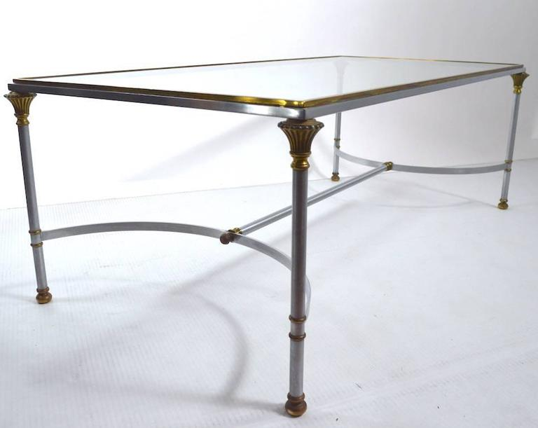 Italian Steel Brass and Glass Coffee Table in the Style of Maison Jansen For Sale