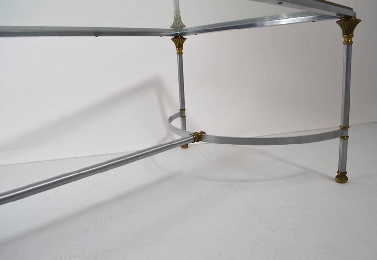 Late 20th Century Steel Brass and Glass Coffee Table in the Style of Maison Jansen For Sale