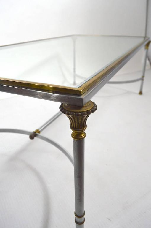 Steel Brass and Glass Coffee Table in the Style of Maison Jansen For Sale 2
