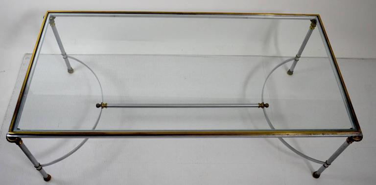 Steel Brass and Glass Coffee Table in the Style of Maison Jansen For Sale 3
