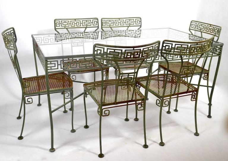 Seven Piece Meadowcraft Greek Key Patio Set At 1stdibs