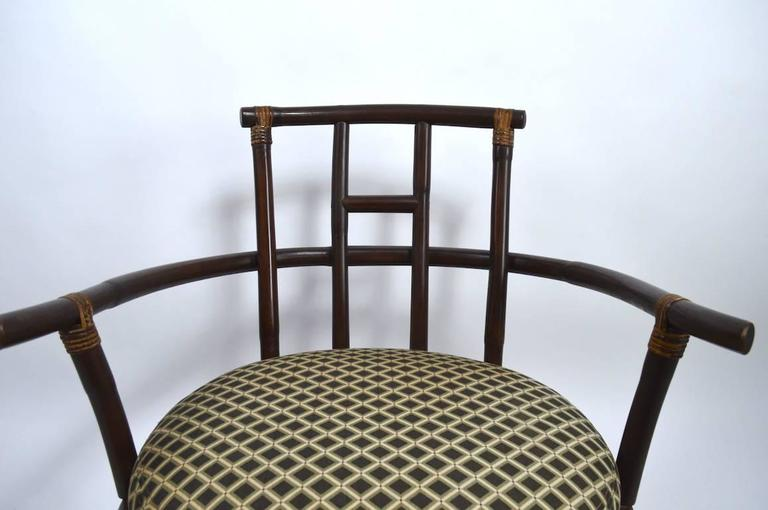 Upholstery Pair of Swivel Bamboo Lounge Chairs For Sale