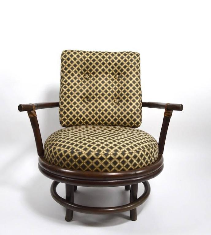 Pair of Swivel Bamboo Lounge Chairs For Sale 3