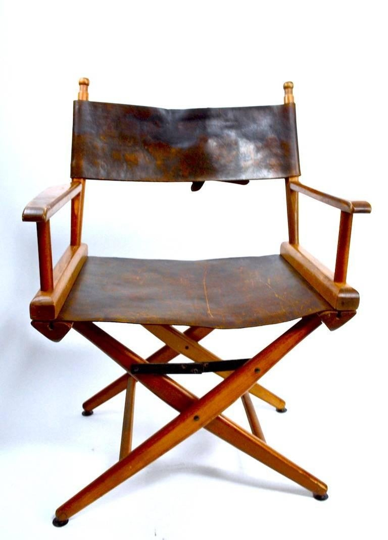 Pair Of Folding Campaign Directors Chairs In Leather At