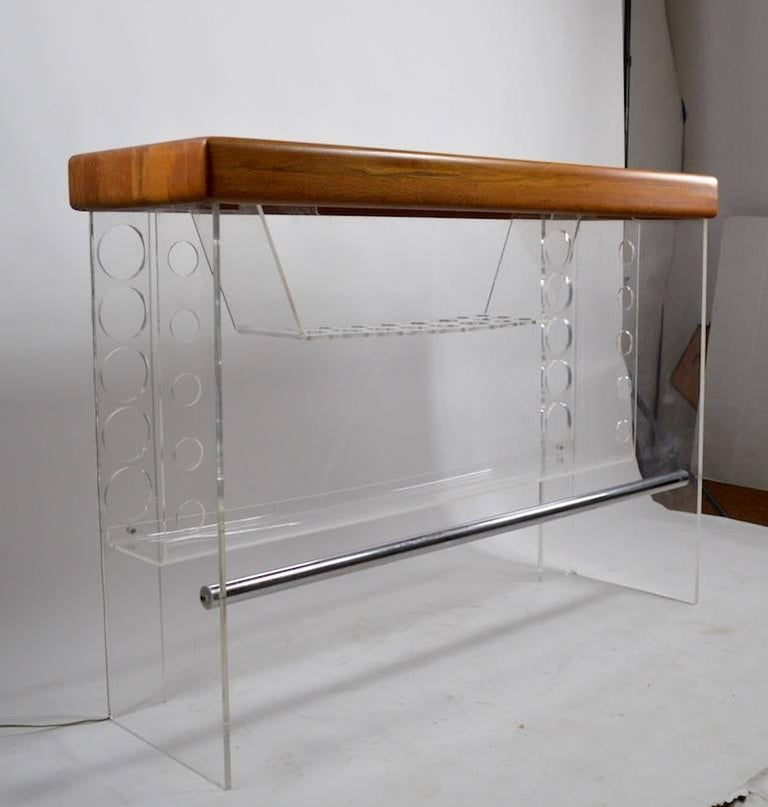 Mid-Century Modern Lucite and Wood Bar with Stools For Sale