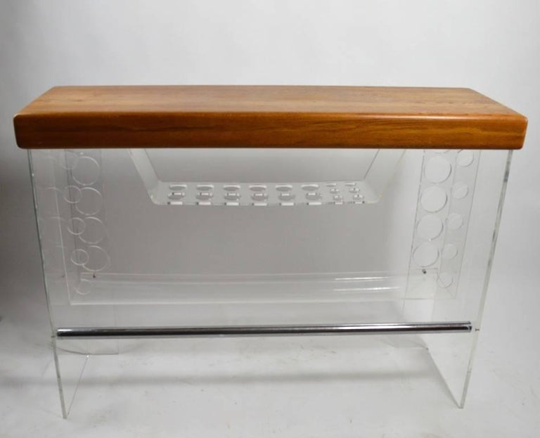 American Lucite and Wood Bar with Stools For Sale