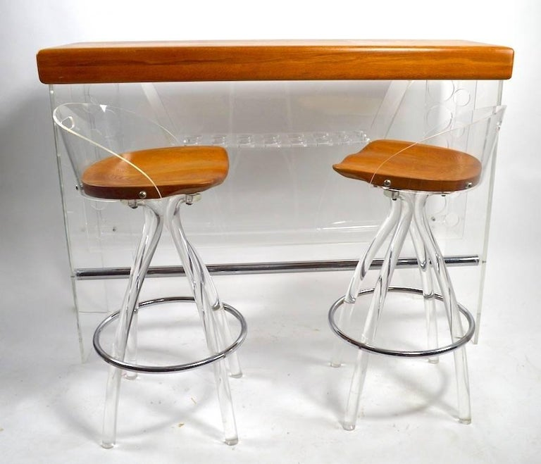Late 20th Century Lucite and Wood Bar with Stools For Sale