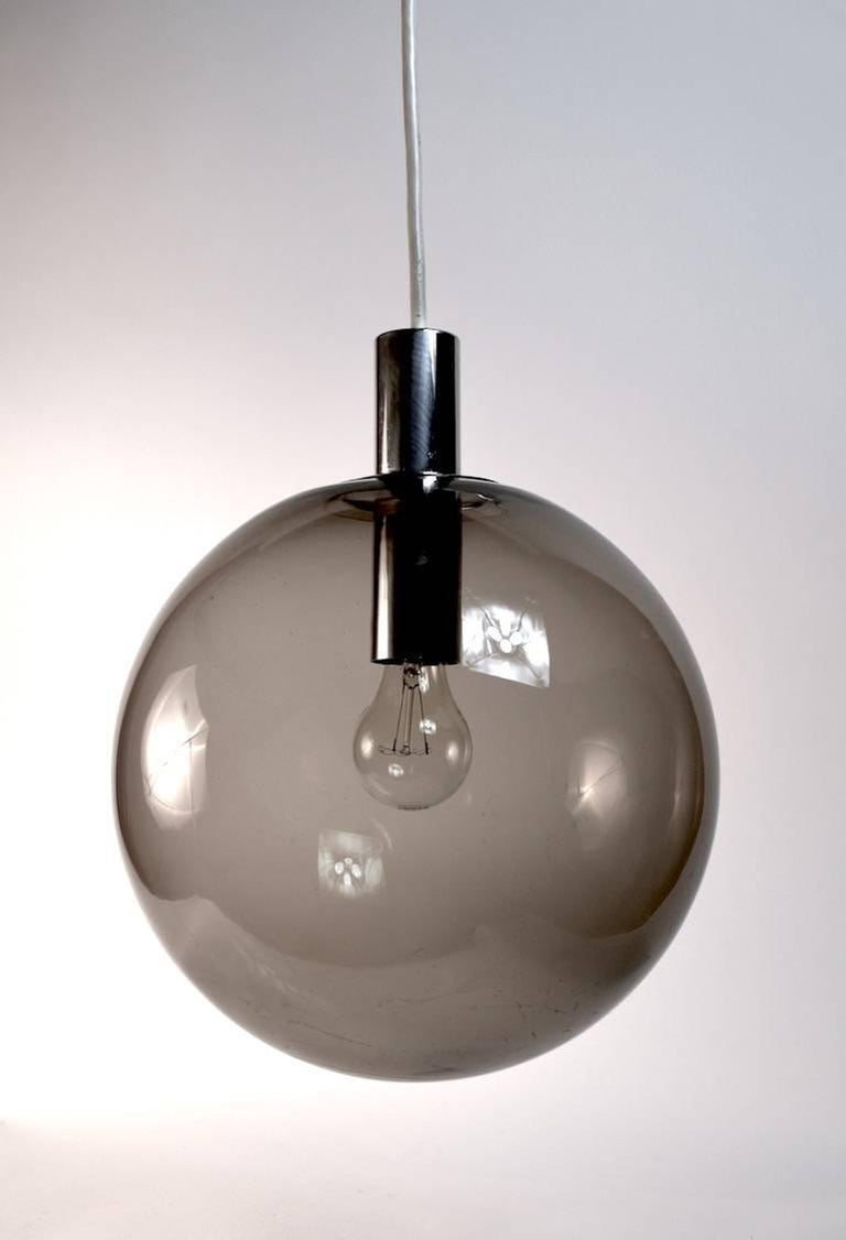 smoked glass ball fixture attributed to lightolier for sale at 1stdibs