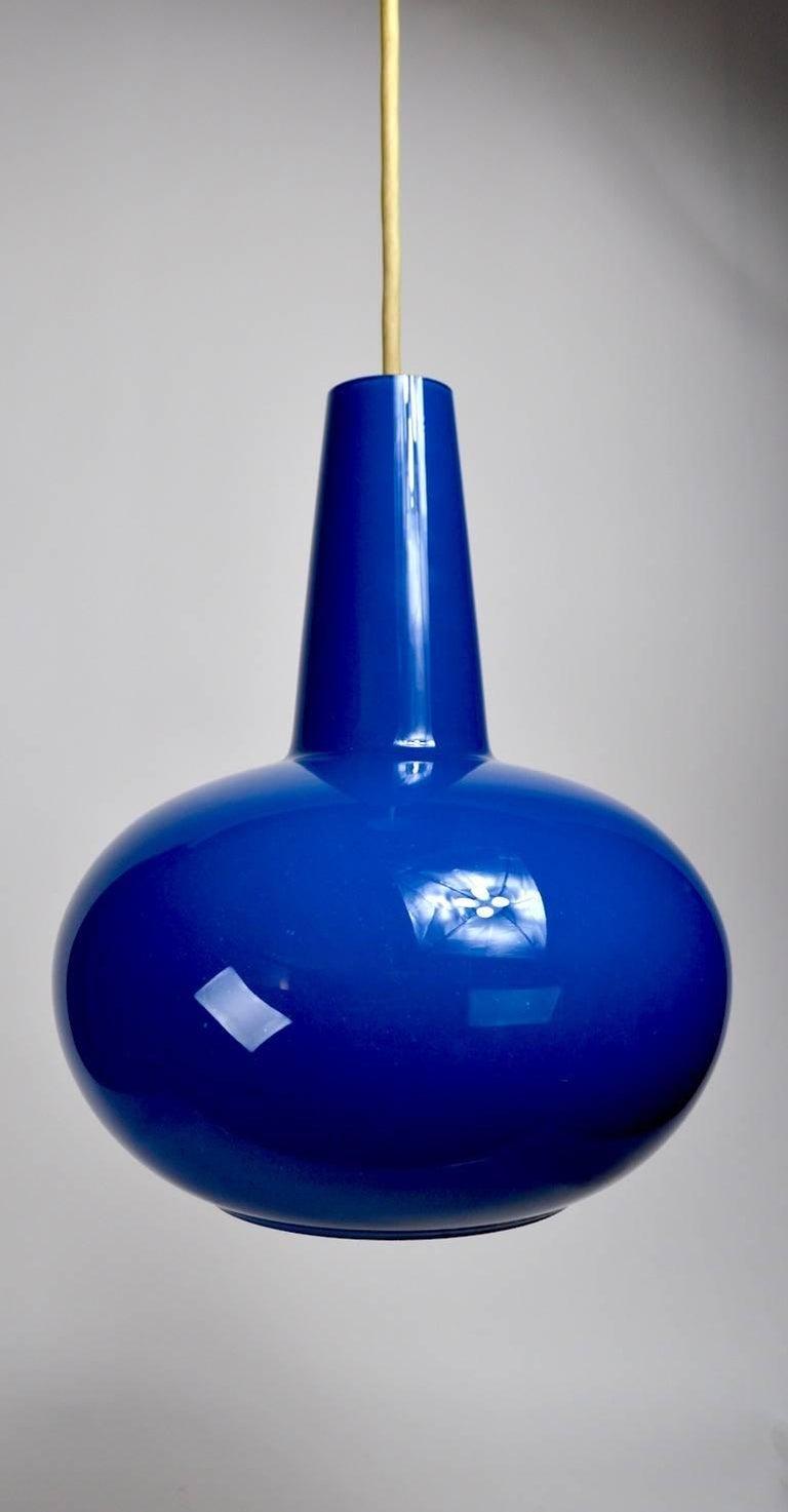 American Colored Glass Pendant by Prescolite  Blue For Sale