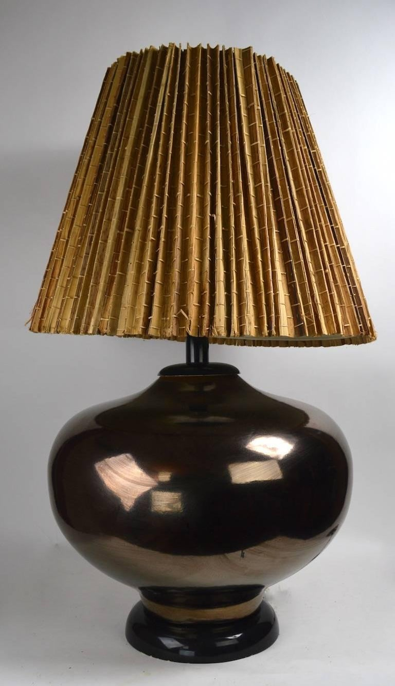 Large Mid Century Metallic Glaze Table Lamp For Sale 1