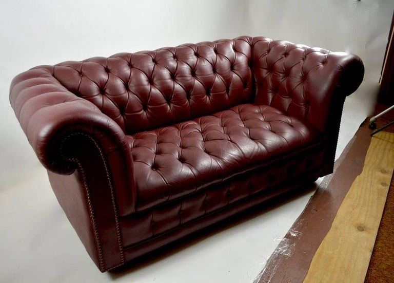 Burgundy Leather Chesterfield Sofa Loveseat For 2