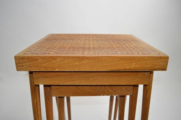 Cerused Pair of Nesting Stacking Tables For Sale