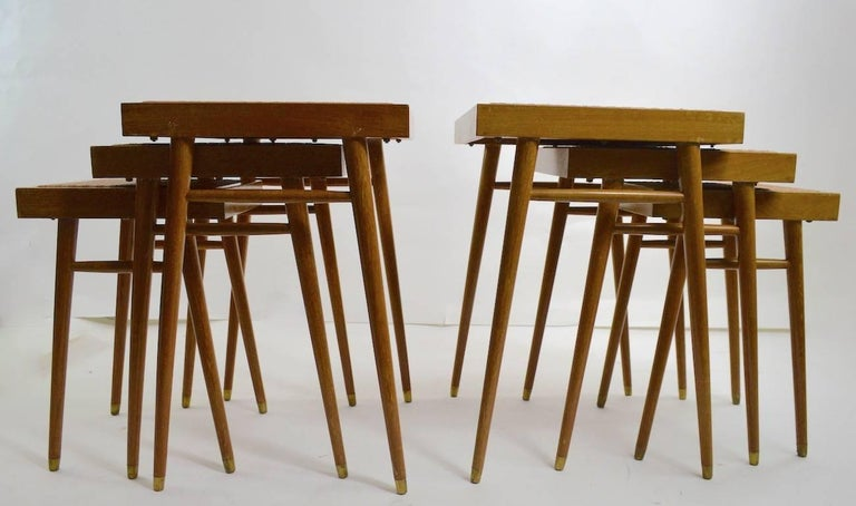 Wood Pair of Nesting Stacking Tables For Sale
