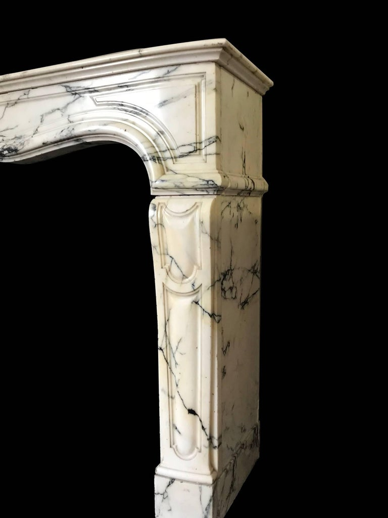 Louis XV Pompadour Style Mantel Carved in Arabescato Marble 'NY171' For Sale