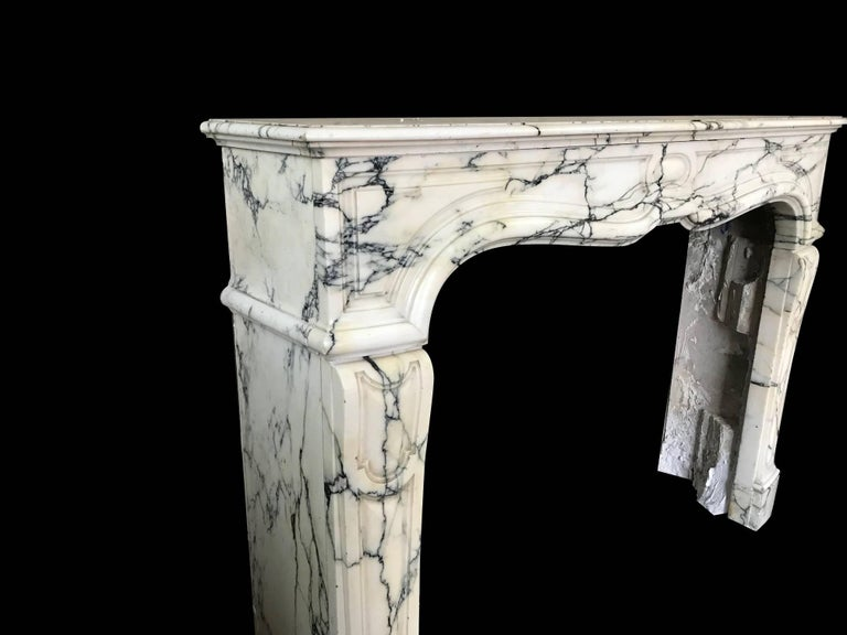 French Pompadour Style Mantel Carved in Arabescato Marble 'NY171' For Sale